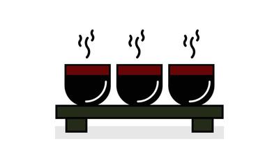 Japanese Sakazuki Sake Cups. Vector Illustration