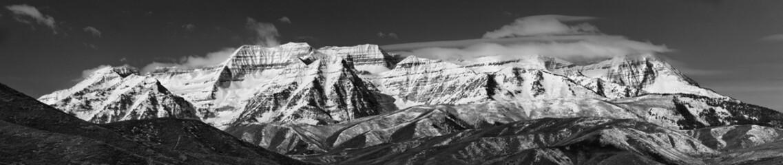 Mt Timpanogos mountain in B&W