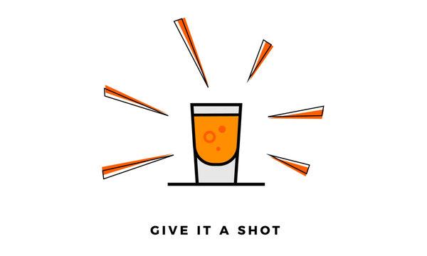 Vector illustration of Shot Glass Icon isolated on Sunburst background. eps 10