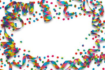 bunte party deko auf weißem hintergrund