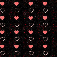 Seamless vector texture with red hearts. You can create the wallpaper with this pattern, color of elements can be changed as you want.
