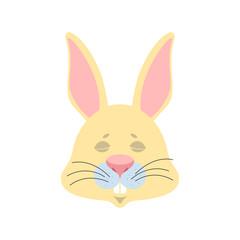 Rabbit sleeping emoji. Hare asleep emotions. Animal dormant. Vector illustration