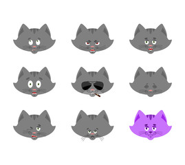 Cat set emoji avatar. sad and angry face. guilty and sleeping. Pet sleeping emotion face. Kitty Eggplant. Vector illustration