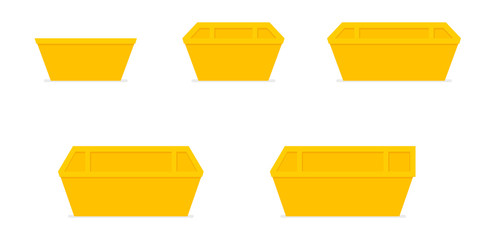 Yellow waste skip bin