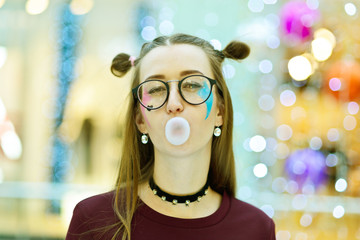 Pink: Girl Blowing Big Bubble with Copyspace