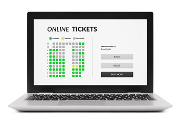 Online tickets concept on laptop computer screen. Isolated on white background. All screen content is designed by me.
