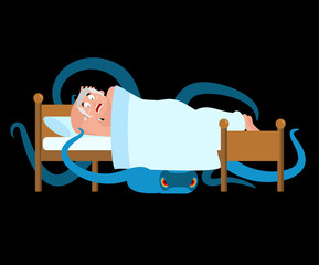 Monster under bed. Frightened Man is asleep. Vector illustration.
