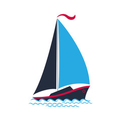 Ship with sails on the waves. Logo for a travel company, for water sports, for the yacht club.
