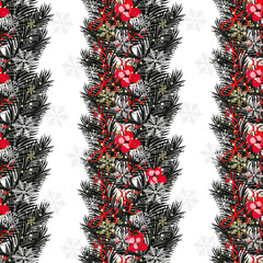 Christmas background with baubles and christmas tree. New Year seamless background.