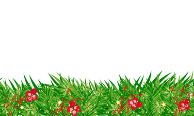 Christmas seamless background with star, holly berry, cones isolated on white. Happy New Year card object. And also includes EPS 10 vector