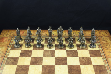 Black chess pieces of medieval chess