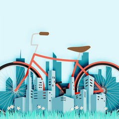 Bike in the city with paper cut style