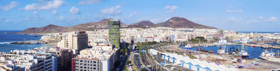 Spain, Canary Islands, Gran Canaria, Las Palmas in panoramic view