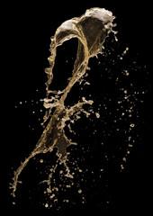 champagne splash on a black background