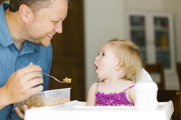 Father feeding baby girl (12-17 months)