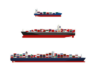 Cargo container vessels in three sizes. Feeder ship, panamax class and ultra-large container ship vector illustration