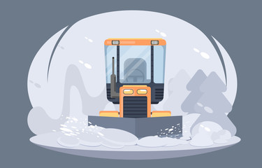 Process of snow removal from road. Winter highway service. Flat vector illustration. Sidewalk clearing plow