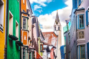 colorful buildings church village of Vipiteno Sterzing - Bol