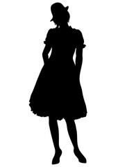 Woman full-length silhouette, with pigtails and cap, in old traditional national dress with a fluffy skirt, vector outline portrait, black and white contour drawing. Isolated on white background