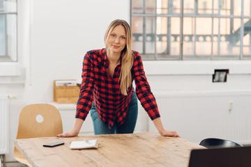 Relaxed confident modern businesswoman