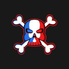 Jolly Roger logo skull with crossbones, threatening symbol pirate flag, t-shirt print or tattoo emblem mockup