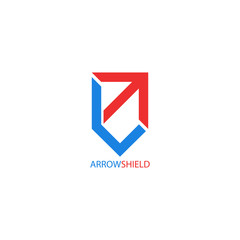 Arrow logo shield shape, creative symbol growth, reliability and stability for financial success business