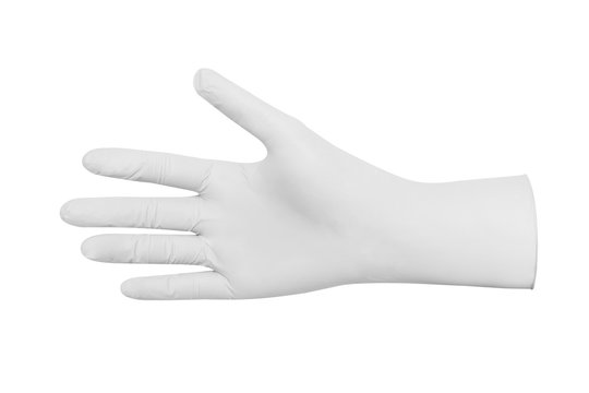 White rubber glove spotless cleaning isolated white