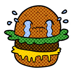 cartoon crying fast food burger