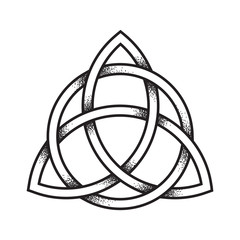 Triquetra or Trinity knot. Hand drawn dot work ancient pagan symbol of eternity and trinity isolated vector illustration. Black work, flash tattoo or print design