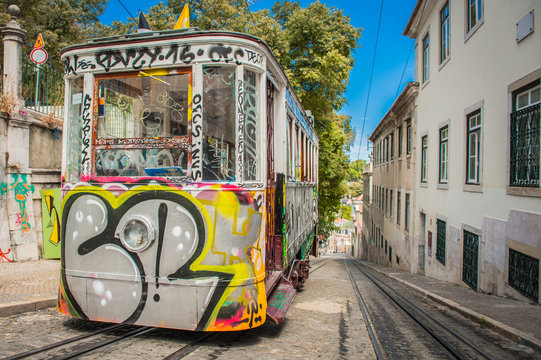 Portugal Lisbon one of city elevator trams