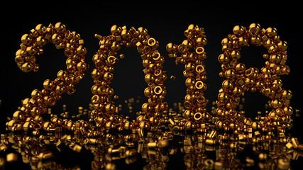 Gold Stones Arranged In Number 2018, 3D Rendering