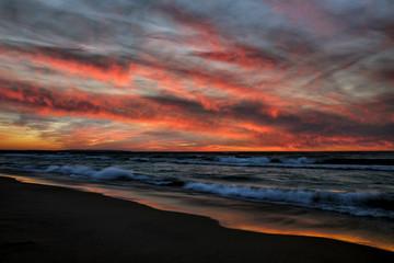 Esch Beach Sunset Sunlit Water