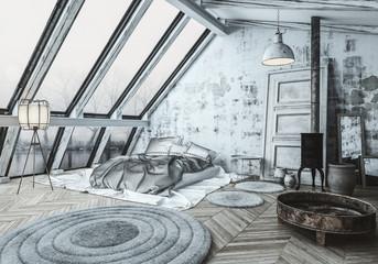 Cozy Scandinavian style bedroom with a wood burner