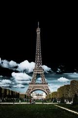 Dark moody image of the Eiffel Tower, Paris