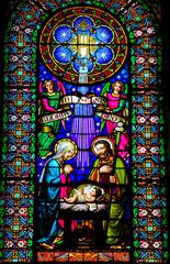 Fototapete - Nativity Scene - Stained Glass