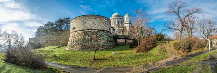 Famous Esztergom basilica, Hungary, panoramic scene