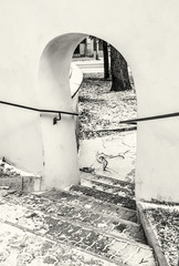 Shallow stairs and an historic gate with railing, colorless