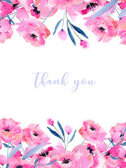 Watercolor pink poppies and floral branches card template, hand drawn on a white background, Thank you card design and other greeting cards
