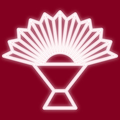 The image of a fan. Icon with the effect of neon glow. The symbol of the Chinese new year