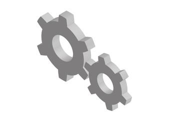 Two isometric cogwheels. Vector illustration