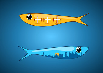 Two ornamental sardines with portuguese patterns fill; including Lisbon skyline. Vector illustration