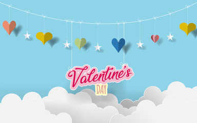 Valentine's day concept.love Invitation card abstract background with text valentine day ,clouds.Vector illustration.Paper and craft art
