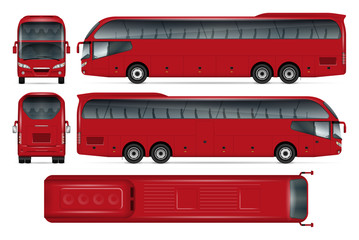 Red bus vector mock-up for advertising, corporate identity. Isolated template of coach on white background. Vehicle branding mockup. Easy to edit and recolor. View from side, front, back, top.