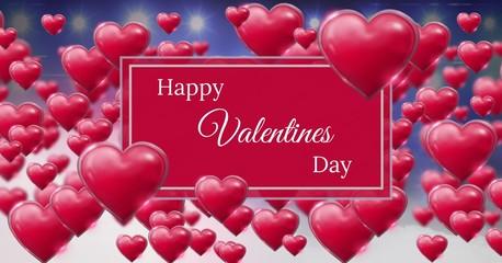 Happy Valentine's Day text and Shiny bubbly Valentines hearts
