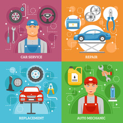 Car Service 4 Flat Icons Square Banner