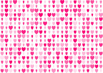 Love seamless background with straight smooth pink hearts