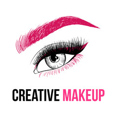 Beautiful Colorful woman eye with creative make-up. Pink eyebrow, long pink eyelashes and unusual makeup with pink shadows. Logo design for creative make-up artist. Vector illustration