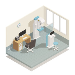 Hospital Medical Equipment Isometric Composition