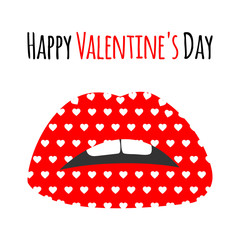 Red lips with pattern print of white hearts. Happy Valentine's Day lettering text card, background, banner. Red kiss cartoon lips icons for Valentines day. Valentine lips,heart, vector illustration