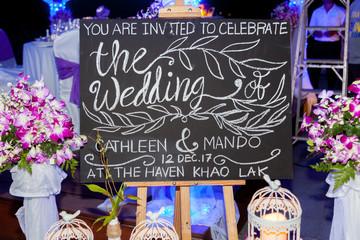 Tafel zur Hochzeit